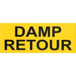 Damp retour sticker