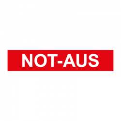 Graveerplaatje 'Not-aus' mt. xs